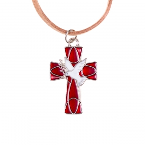 Necklace - cross - leather cord - Holy Spirit