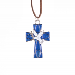 Necklece - cross - Holy Spirit - leather cord