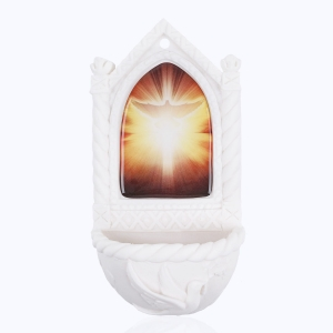 Stoup - Holy Spirit - resin inset - Alabaster