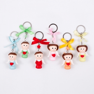 Keychain - angel - heart - polymer clay