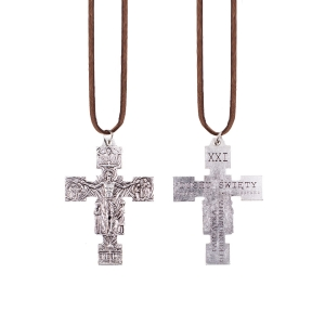 Necklace - cross - Confirmation gift - leather cord