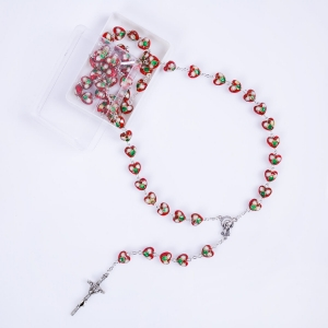 Rosary - glass - 8 mm - hand decorated beads - hearts