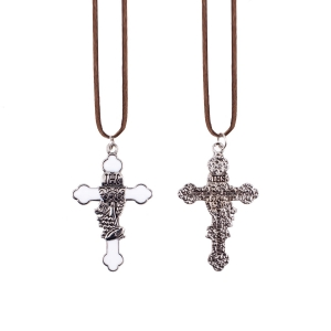 Necklace - cross -  First Holy Communion gift - leather cord