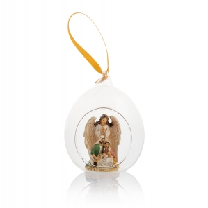 Glass bauble - angel - Holy Family - hanging decoration - 9 cm - Classic