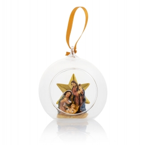 Glass bauble - star - Holy Family - hanging decoration - 9 cm - Classic