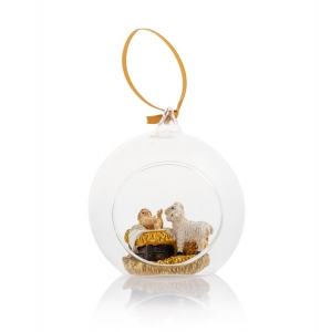 Glass bauble - Baby Jesus - sheeps - hanging decoration - Classic