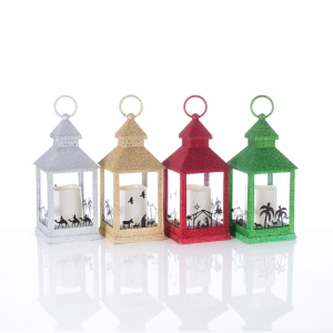 Lantern - nativity scene - LED light - Glitter