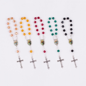 Single decade rosary - crystal - 8 mm - st. Christopher