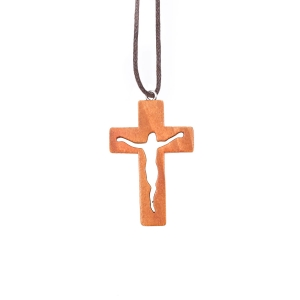 Necklace - cross - Jesus Christ Corpus - wood - waxed cord