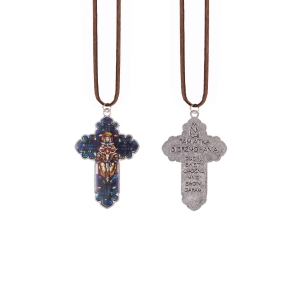 Necklace - cross - Holy Trinity - Holy Confirmation - leather cord - Polish