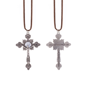 Necklace - cross - First Holy Communion - leather cord
