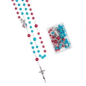 Rosary - glass - 8 mm -  pearl coating - Merciful Jesus