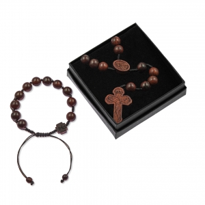 Set - rosary - bracelet - wood - Siamese Rosewood -  cord - Legno
