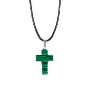 Necklace - cross - natural stone
