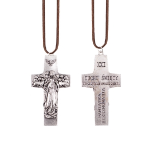 Necklace - cross - Good Shepherd - Confirmation gift - leather cord
