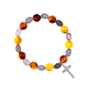 Bracelet - single decade rosary - synthetic amber - st. Benedict